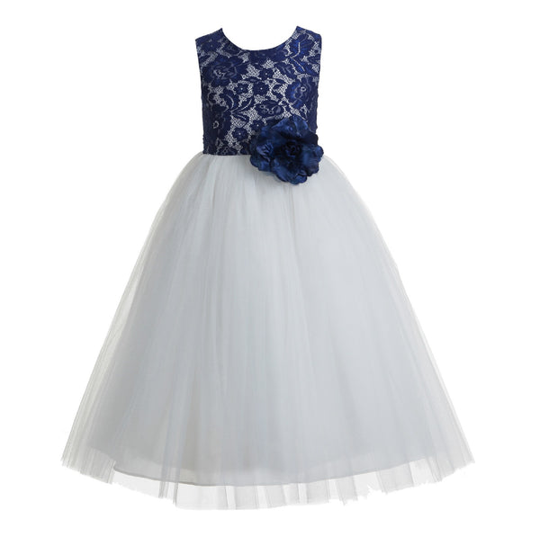 Floral Lace Heart Cutout Flower Girl Dress Junior Pageant Communion Baptism Wedding Tulle Dress 172F