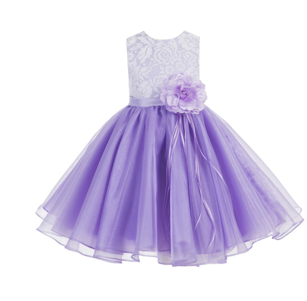 Lace Organza Flower Girl Dress Elegant Formal Junior Beauty Pageant Bridesmaid Recital Dress 186F