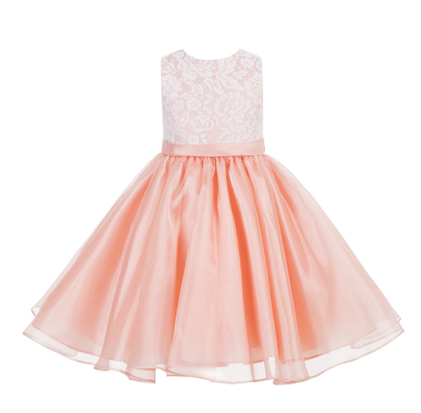Lace Organza Flower Girl Dress Elegant Formal Junior Beauty Pageant Bridesmaid Recital Dress 186
