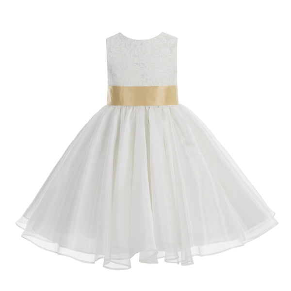 Ivory Lace Organza Flower Girl Dress Elegant Formal Junior Beauty Pageant Communion Baptism 186T(3)