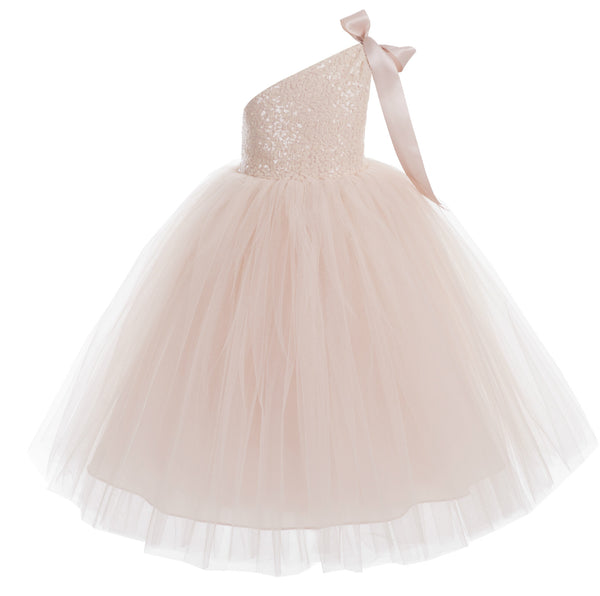 One-Shoulder Sequins Tutu Flower Girl Dress Junior Beauty Pageant Special Event Ballroom Gown 182(1)
