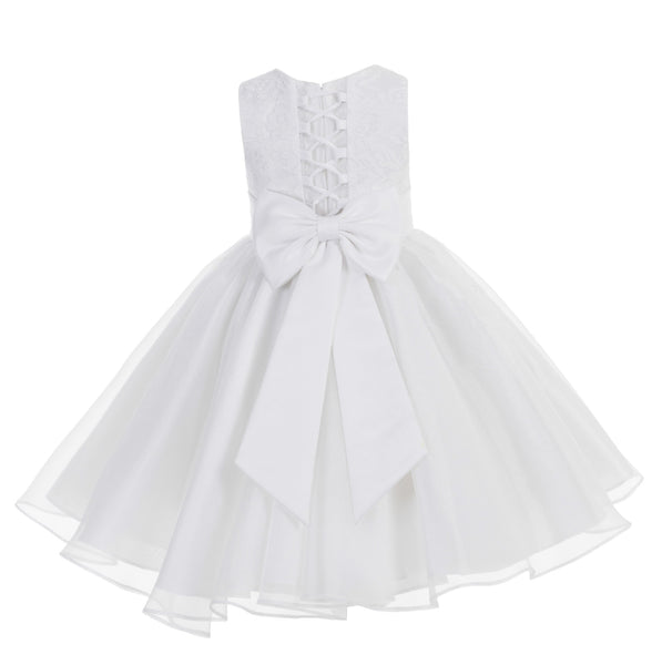 White Lace Organza Flower Girl Dress Elegant Formal Junior Beauty Pageant Communion Baptism 186T(1)