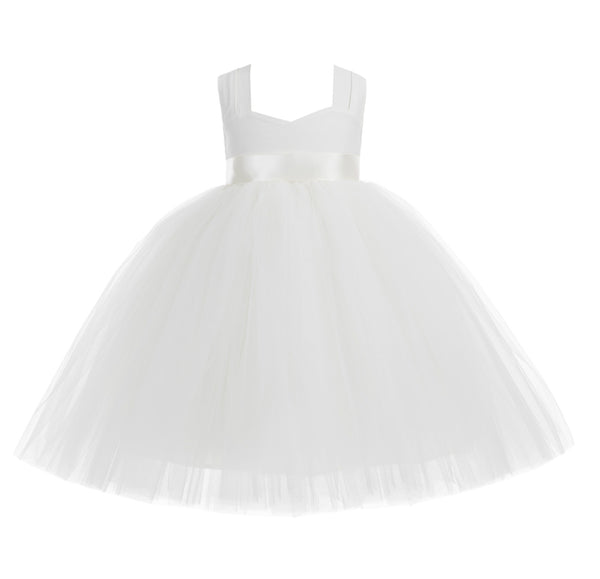 Ivory Sweetheart Neck Cotton Top Tutu Flower Girl Dress Pretty Princess Junior Pageant Wedding 171R