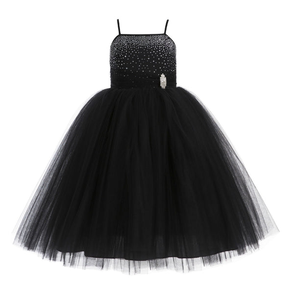 Tulle Rhinestone Flower Girl Dress Junior Ballroom Gown Beauty Pageant Easter Birthday Dress 189