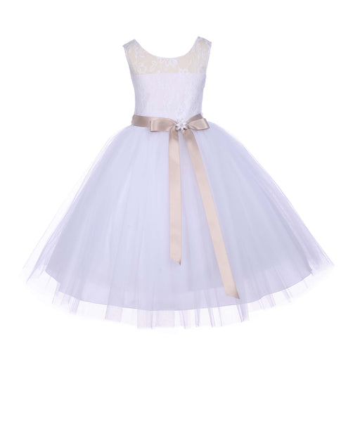 White Sleeveless Lace Bodice Ribbon Tulle Flower Girl Dress Wedding Pageant Special Events 153R