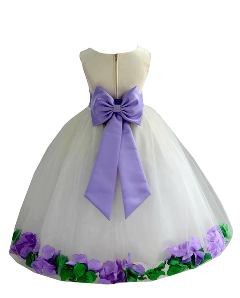 Ivory Elegant Colorful Mixed Rose Petals Bridesmaid Pageant Special Occasion Flower Girl Dress 302T