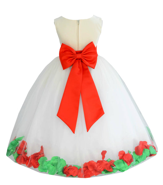 Ivory Elegant Colorful Mixed Rose Petals Bridesmaid Pageant Special Occasion Flower Girl Dress 302T1