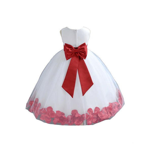 White Elegant Bridesmaid Pageant Special Occasions Rose Petals Flower Girl Dress 302T