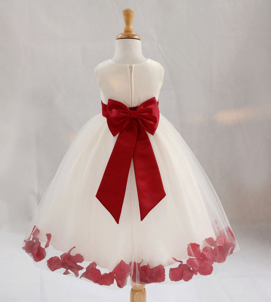 Ivory Elegant Wedding Pageant Special Events Petals Flower Girl Dress with Bow Tie Sash 302T