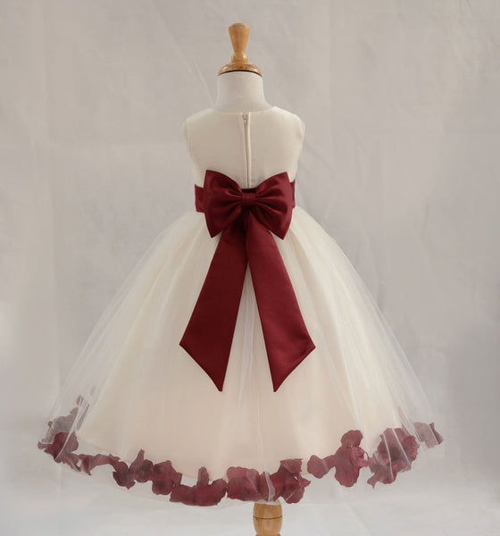 Ivory Elegant Wedding Pageant Special Events Petals Flower Girl Dress with Bow Tie Sash 302T1