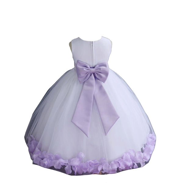 White Elegant Bridesmaid Pageant Special Occasions Rose Petals Flower Girl Dress 302T1