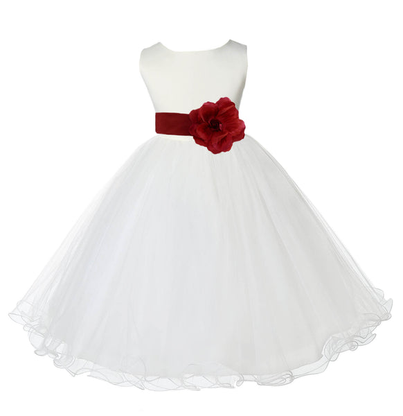 Ivory Formal Wedding Pageant Special Occasions Rattail Edge Tulle Flower Girl Dress 829S