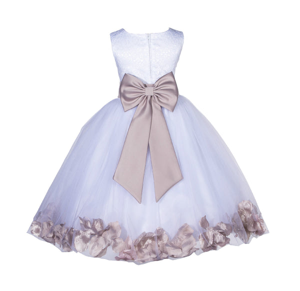Ivory Tulle Floral Lace Top Rose Petals Flower Girl Dress Wedding Pageant Special Occasions 165T