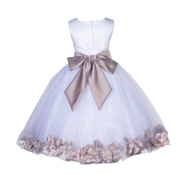 White Lace Top Tulle Floral Petals Flower Girl Dress Birthday Girl Junior Pageant Bridesmaid 165S(1)