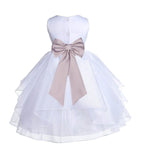 White Satin Shimmering Organza Flower Girl Dress Junior Formal Pageant Baptism Christening 4613T(4)