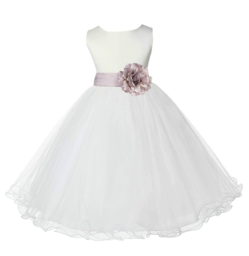 White Formal Wedding Pageant Special Occasions Rattail Edge Tulle