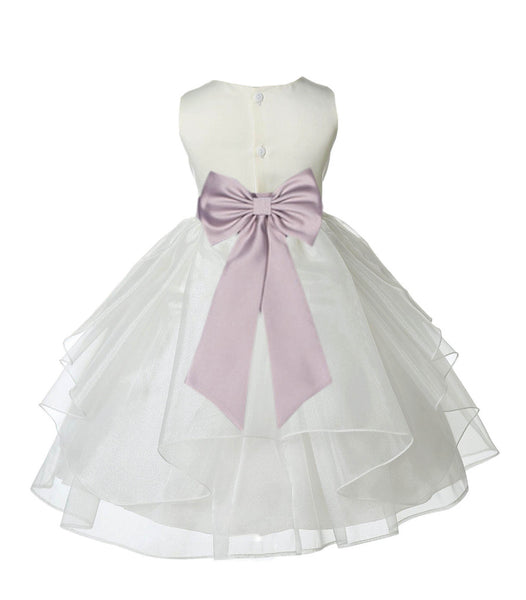 Ivory Satin Shimmering Organza Flower Girl Dress Junior Formal Pageant Baptism Christening 4613T(3)
