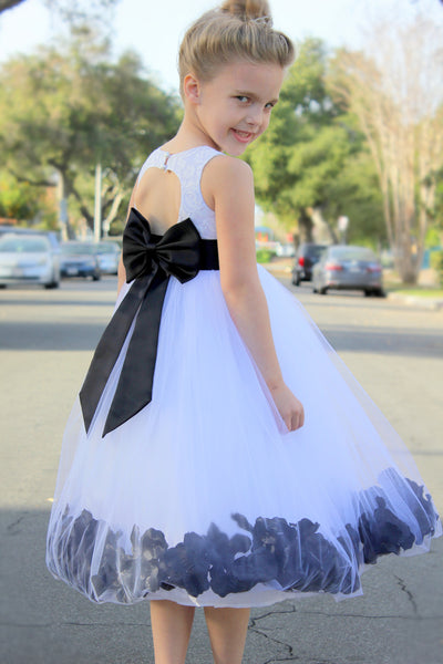 White Floral Lace Heart Cutout Rose Petals Flower Girl Dress Junior Bridesmaid Special Event 185T(2)