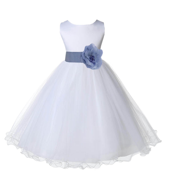 White Formal Wedding Pageant Special Occasions Rattail Edge Tulle Flower Girl Dress 829T2