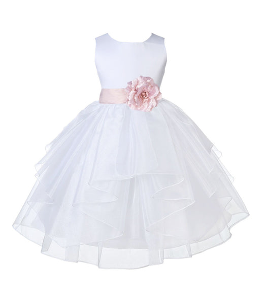 White Shimmering Organza Flower Girl Dress Wedding Junior Bridesmaid Pageant Special Events 4613S(5)
