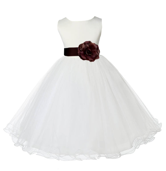 Ivory Formal Wedding Pageant Special Occasions Rattail Edge Tulle Flower Girl Dress 829S1