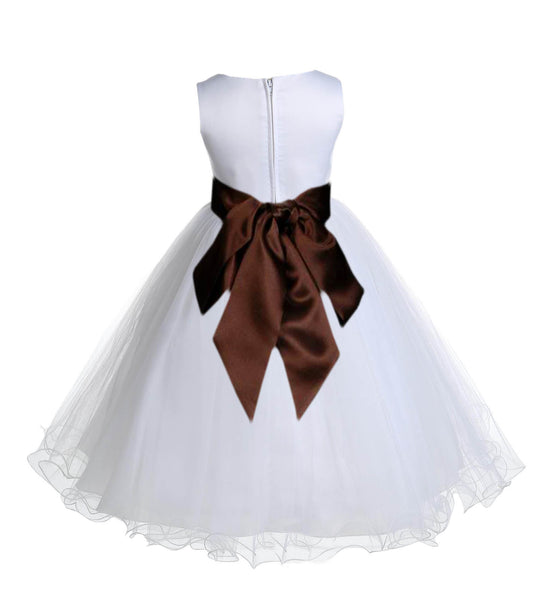 White Formal Wedding Pageant Special Occasions Rattail Edge Tulle Flower Girl Dress 829S1