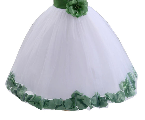 White Floral Lace Heart Cutout Rose Petals Flower Girl Dress Junior Bridesmaid Special Event 185T(1)