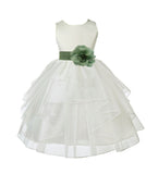 Ivory Satin Shimmering Organza Flower Girl Dress Junior Formal Pageant Baptism Christening 4613T(4)
