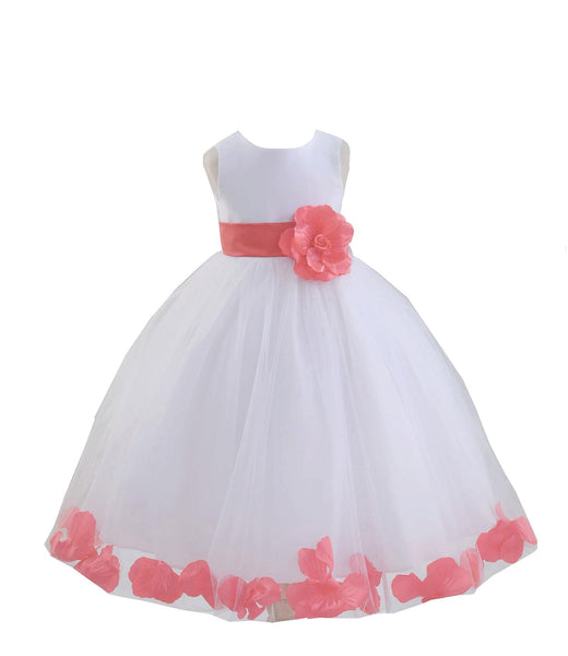 White Tulle Floral Petals Flower Girl Dress Special Occasions Junior Pageant Wedding Holiday 302S(6)