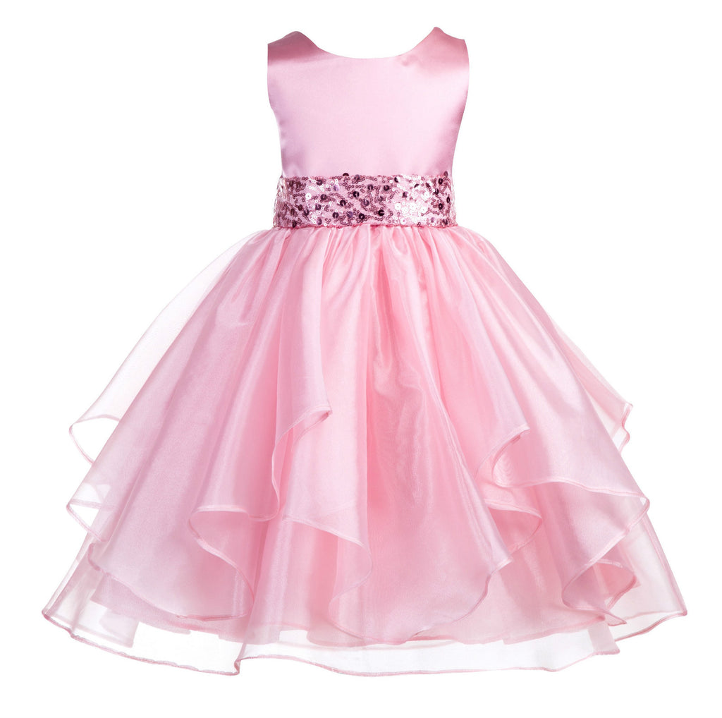 Sequin Ruffles Organza Flower Girl Dress Toddler Wedding Pageant