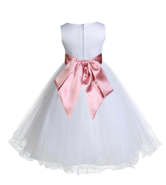 White Formal Wedding Pageant Special Occasions Rattail Edge Tulle Flower Girl Dress 829S4