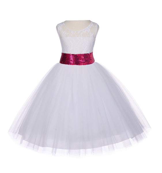 Ivory Sleeveless Lace Bodice Ribbon Tulle Flower Girl Dress Wedding Pageant Special Events 153mh
