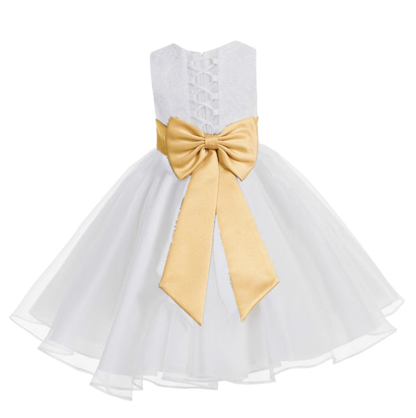 White Lace Organza Flower Girl Dress Elegant Formal Junior Beauty Pageant Communion Baptism 186T(3)
