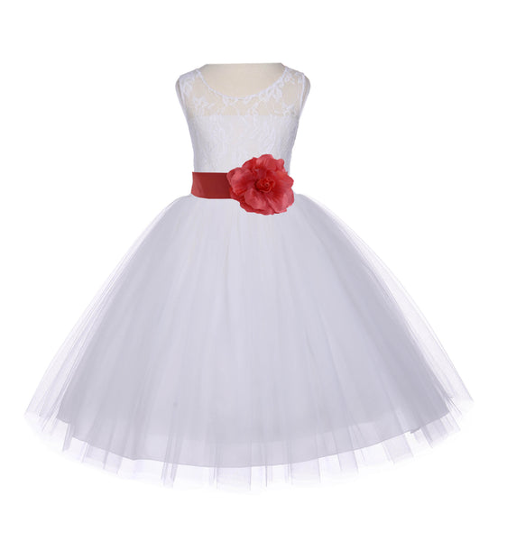 Ivory Sleeveless Lace Bodice Ribbon Tulle Flower Girl Dress Wedding Pageant Special Events 153S