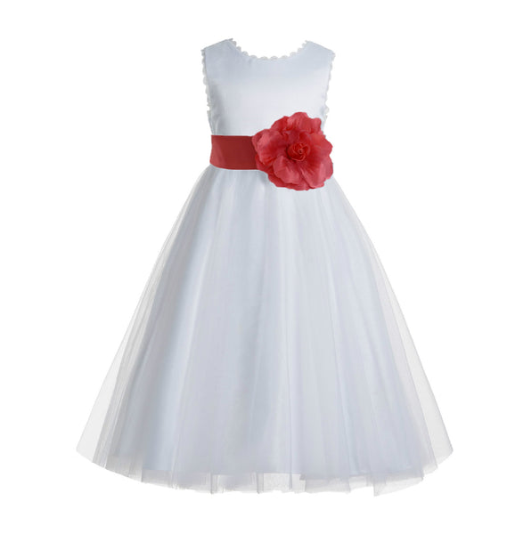 White V-Back Lace Edge Flower Girl Dress Junior Pageant Special Occasion Formal Evening Gown 183T(2)