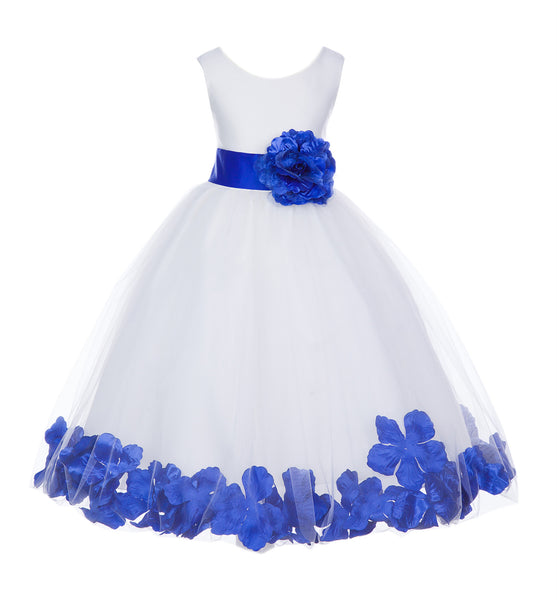 White Tulle Floral Petals Flower Girl Dress Special Occasions Junior Pageant Wedding Holiday 302S(3)