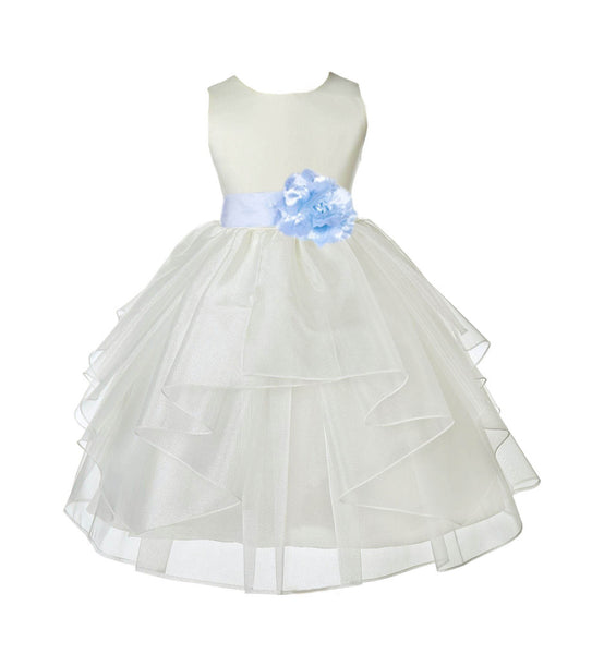 Ivory Satin Shimmering Organza Flower Girl Dress Junior Formal Pageant Baptism Christening 4613T(5)