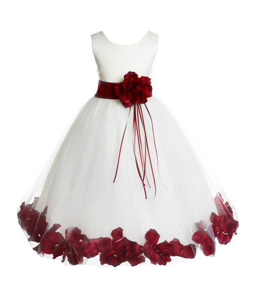 Ivory Tulle Floral Rose Petals Princess Wedding Pageant Recital Birthday Flower Girl Dress 007(2)