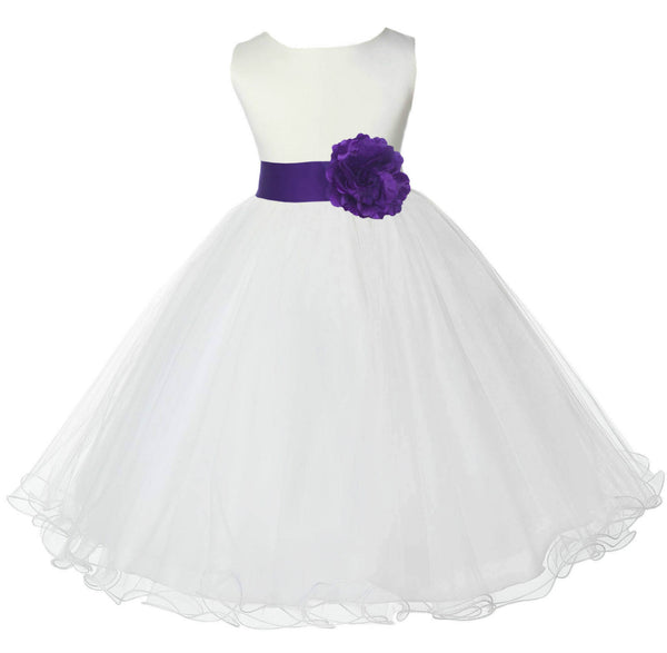 White Formal Wedding Pageant Special Occasions Rattail Edge Tulle Flower Girl Dress 829S3
