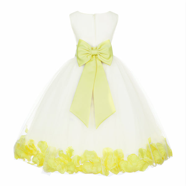 Ivory Elegant Wedding Pageant Special Events Petals Flower Girl Dress with Bow Tie Sash 302T3