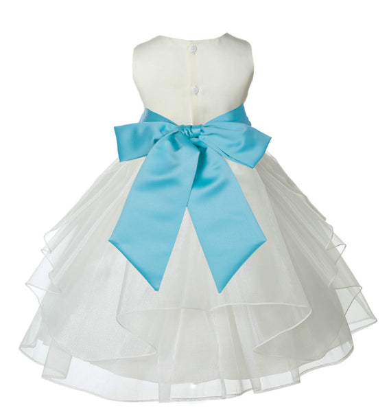 Ivory Shimmering Organza Flower Girl Dress Wedding Junior Bridesmaid Pageant Special Events 4613S(4)