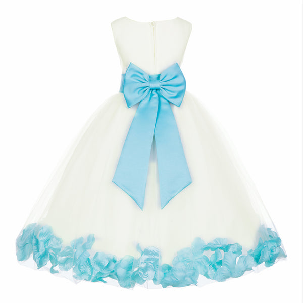 Ivory Elegant Wedding Pageant Special Events Petals Flower Girl Dress with Bow Tie Sash 302T4