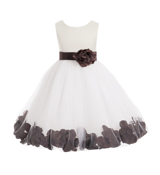 Ivory Tulle Floral Petals Flower Girl Dress Special Occasions Junior Pageant Wedding Holiday 302S(2)