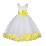 Ivory Lace Top Tulle Floral Petals Flower Girl Dress Birthday Girl Junior Pageant Bridesmaid 165S(1)