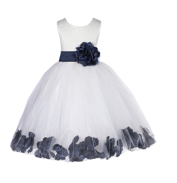 Ivory Lace Top Tulle Floral Petals Flower Girl Dress Birthday Girl Junior Pageant Bridesmaid 165S(2)