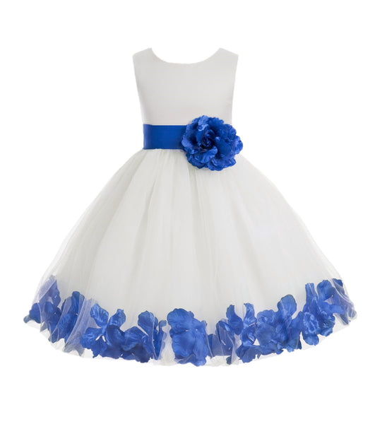 White Tulle Floral Petals Flower Girl Dress Special Occasions Junior Pageant Wedding Holiday 302S(1)