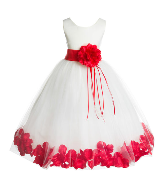 Ivory Tulle Floral Rose Petals Princess Wedding Pageant Recital Birthday Flower Girl Dress 007(3)