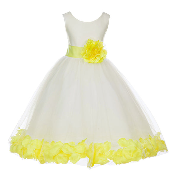 Ivory Tulle Floral Petals Flower Girl Dress Special Occasions Junior Pageant Wedding Holiday 302S(4)