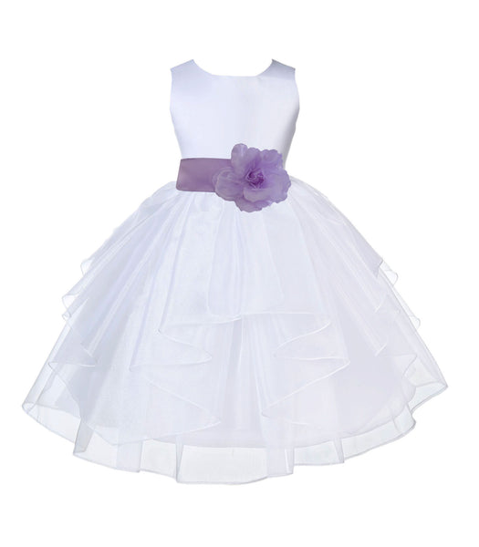White Shimmering Organza Flower Girl Dress Wedding Junior Bridesmaid Pageant Special Events 4613S(2)