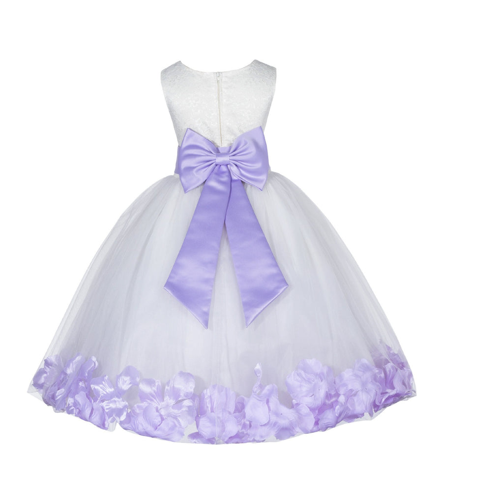 06bd4100eb1 ... Ivory Tulle Floral Lace Top Rose Petals Flower Girl Dress Wedding  Pageant Special Occasions 165T